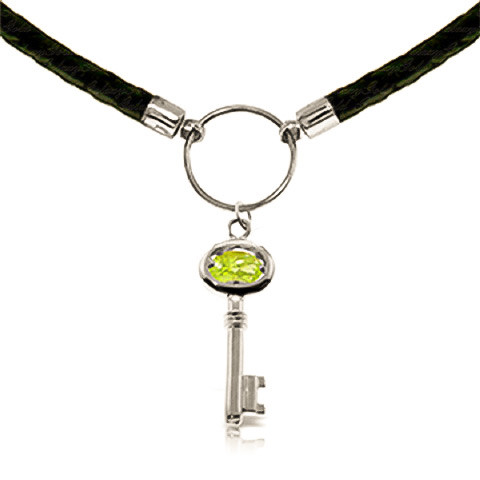 Peridot Key Charm Leather Pendant Necklace 0.5 ct in 9ct White Gold