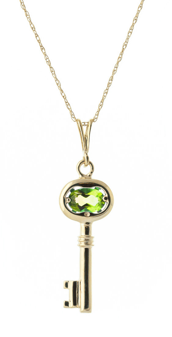 1b8623753 Peridot Key Charm Pendant Necklace 0.5 ct in 9ct Gold - 4565Y | QP ...