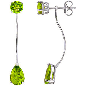 Peridot Lure Drop Earrings 4.2 ctw in 9ct White Gold