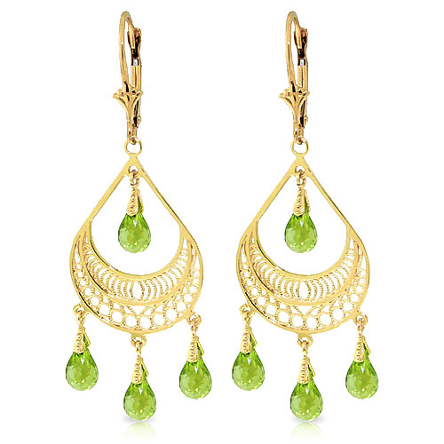 Peridot Mirage Drop Earrings 6.75 ctw in 9ct Gold