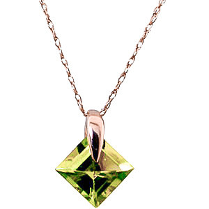 Peridot Princess Pendant Necklace 1.16 ct in 9ct Rose Gold