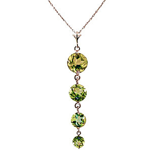 Peridot Quadruplo Pendant Necklace 3.9 ctw in 9ct Rose Gold