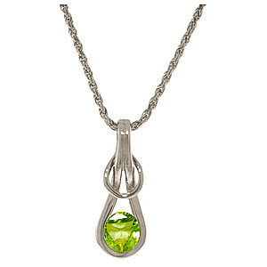Peridot San Francisco Pendant Necklace 0.65 ct in 9ct White Gold