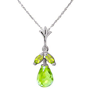 Peridot Snowdrop Pendant Necklace 1.7 ctw in 9ct White Gold