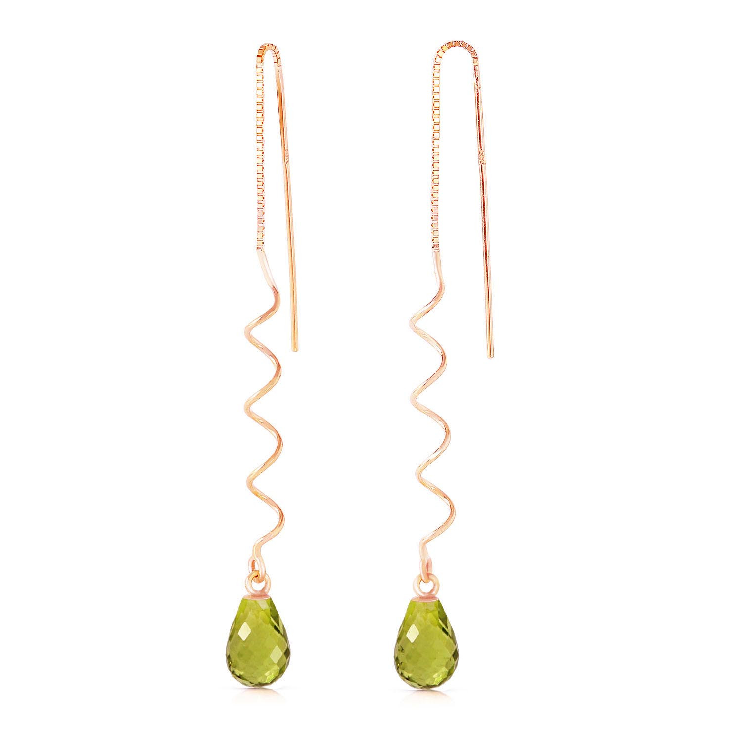 Peridot Spiral Scintilla Earrings 3.3 ctw in 9ct Rose Gold