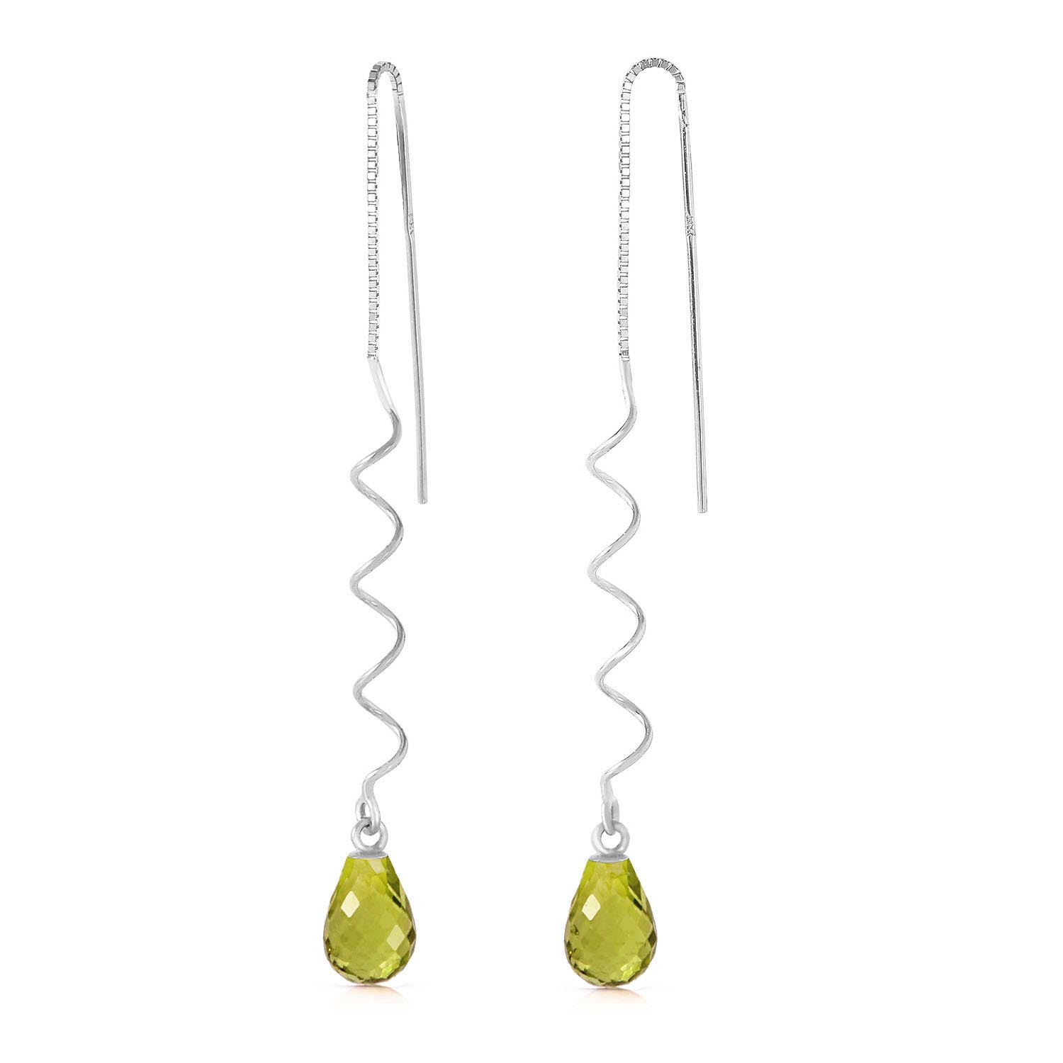 Peridot Spiral Scintilla Earrings 3.3 ctw in 9ct White Gold