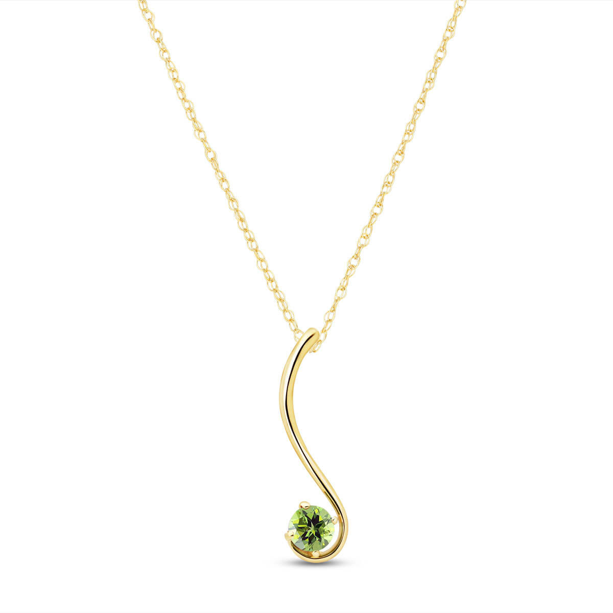 Peridot Swish Pendant Necklace 0.55 ct in 9ct Gold