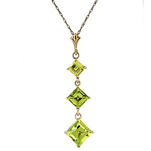 Peridot Three Stone Pendant Necklace 2.4 ctw in 9ct Gold