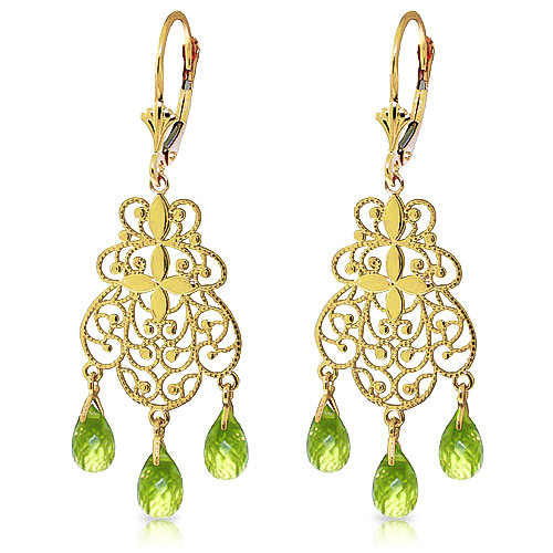 Peridot Trilogy Drop Earrings 3.75 ctw in 9ct Gold