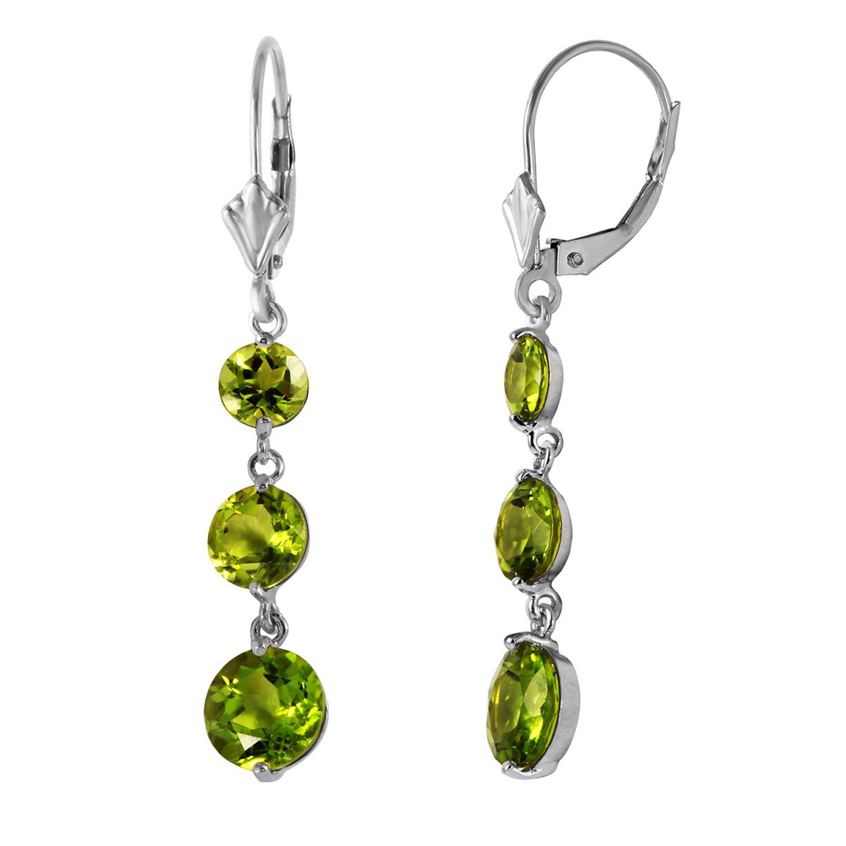 Peridot Trinity Drop Earrings 7.2 ctw in 9ct White Gold