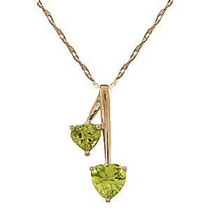 Peridot Twin Pendant Necklace 1.4 ctw in 9ct Gold