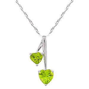 Peridot Twin Pendant Necklace 1.4 ctw in 9ct White Gold