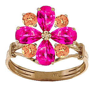 Pink Topaz & Citrine Sunflower Cluster Ring in 9ct Gold