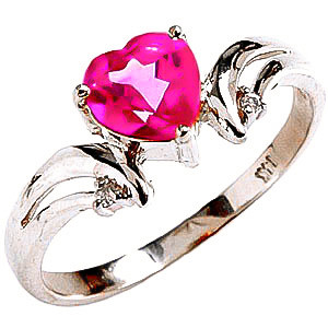 Pink Topaz & Diamond Affection Heart Ring in Sterling Silver