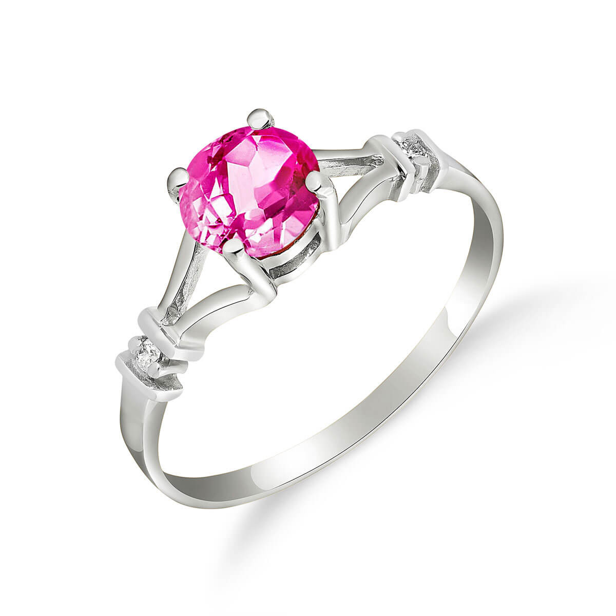Pink Topaz & Diamond Aspire Ring in 9ct White Gold