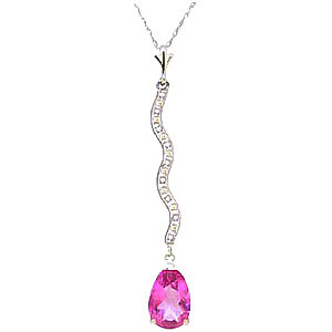 Pink Topaz & Diamond Cannes Pendant Necklace in 9ct White Gold