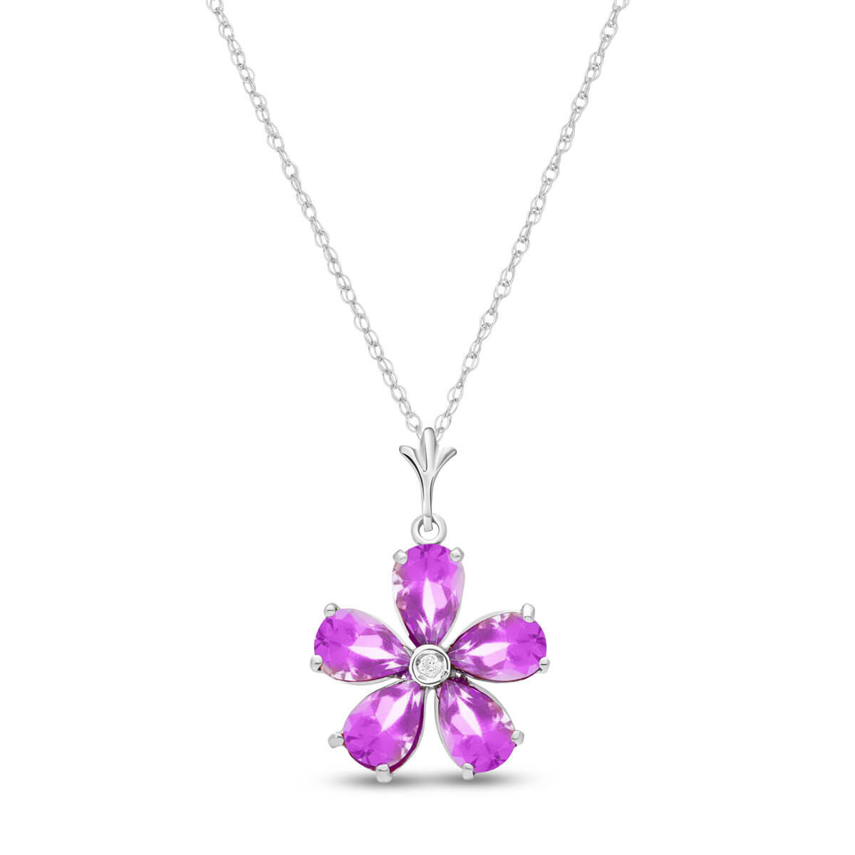 Pink Topaz & Diamond Flower Petal Pendant Necklace in 9ct White Gold