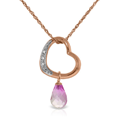 Pink Topaz & Diamond Heart Pendant Necklace in 9ct Rose Gold
