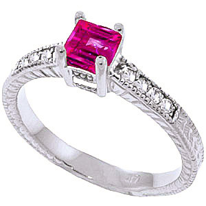 Pink Topaz & Diamond Shoulder Set Ring in Sterling Silver