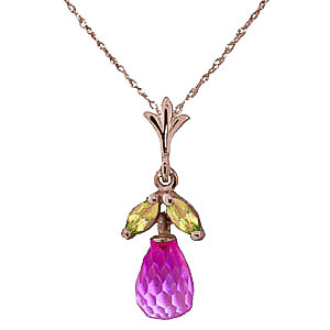 Pink Topaz & Peridot Snowdrop Pendant Necklace in 9ct Rose Gold
