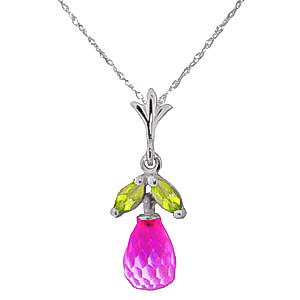 Pink Topaz & Peridot Snowdrop Pendant Necklace in 9ct White Gold