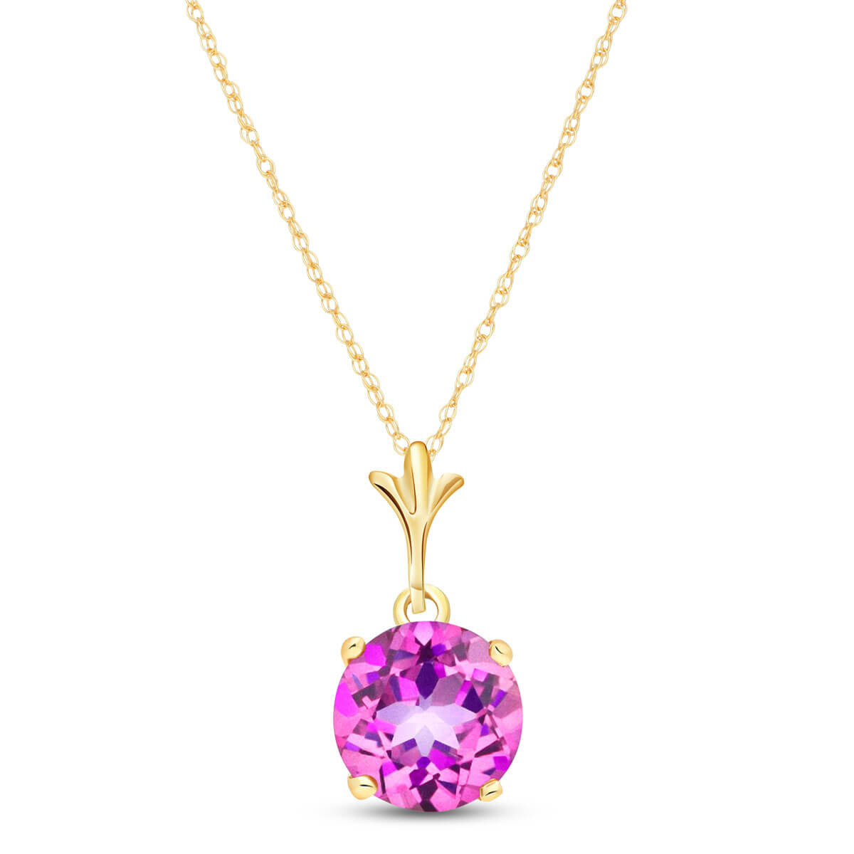 Pink Topaz Drop Pendant Necklace 1.15 ct in 9ct Gold
