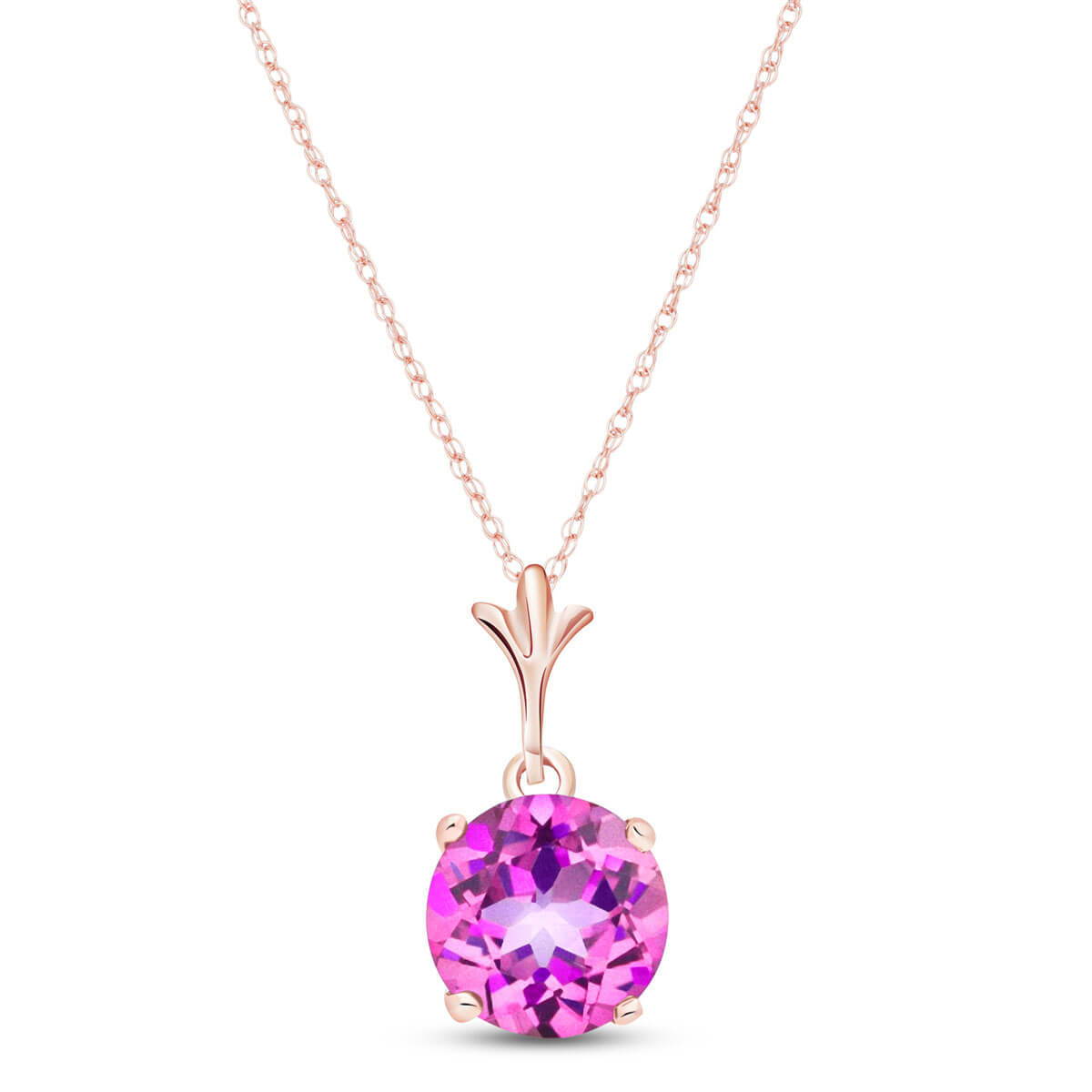 Pink Topaz Drop Pendant Necklace 1.15 ct in 9ct Rose Gold