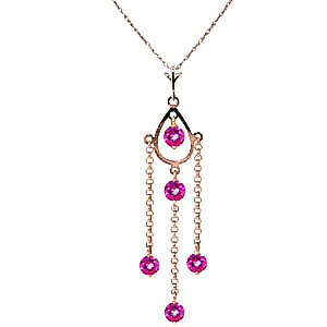 Pink Topaz Faro Pendant Necklace 1.5 ctw in 9ct Rose Gold