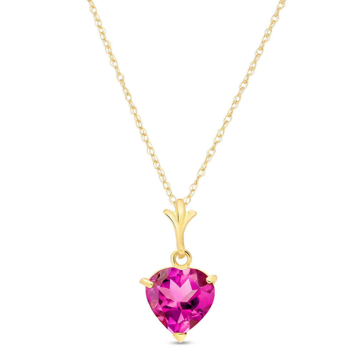 Pink Topaz Heart Pendant Necklace 1.15 ct in 9ct Gold