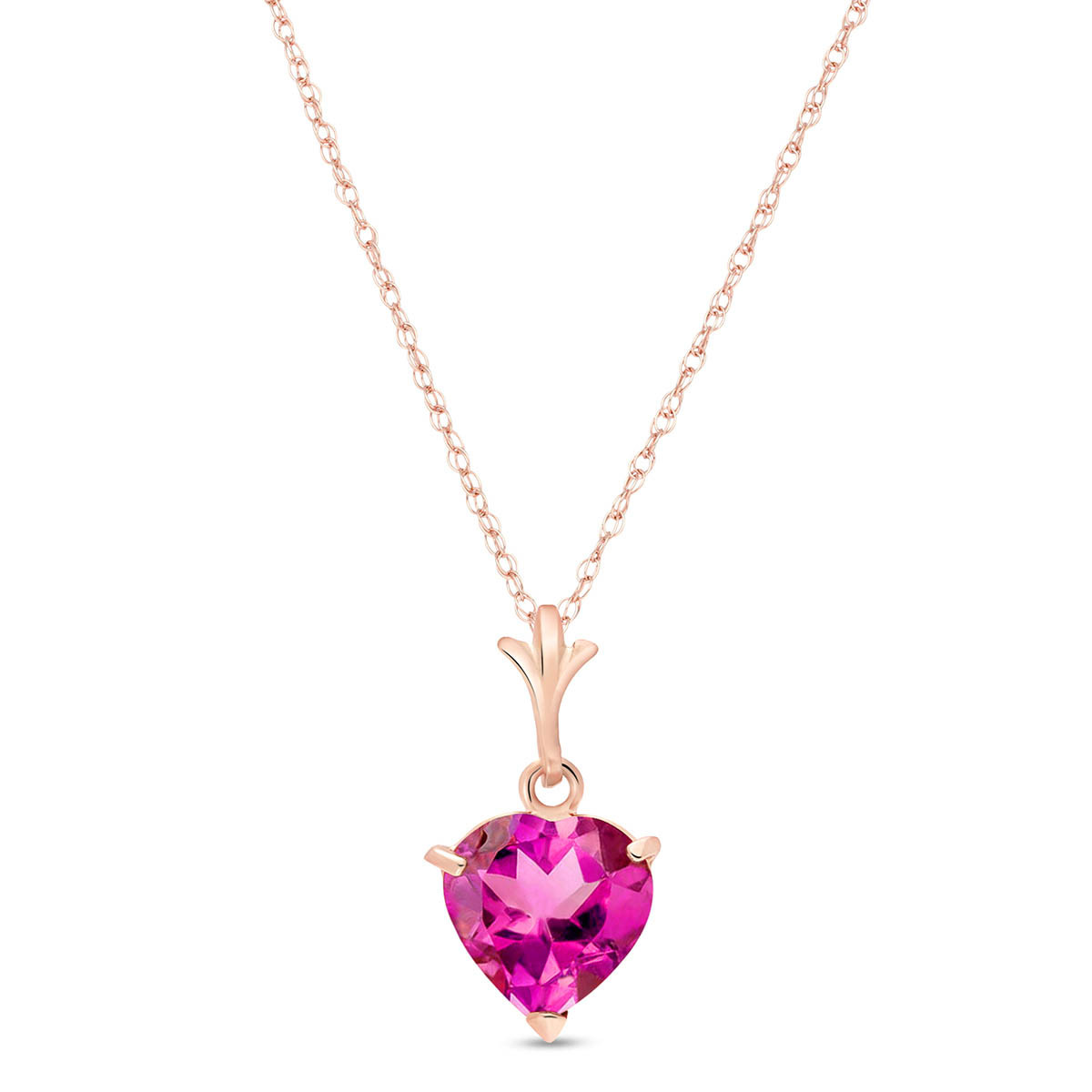 Pink Topaz Heart Pendant Necklace 1.15 ct in 9ct Rose Gold