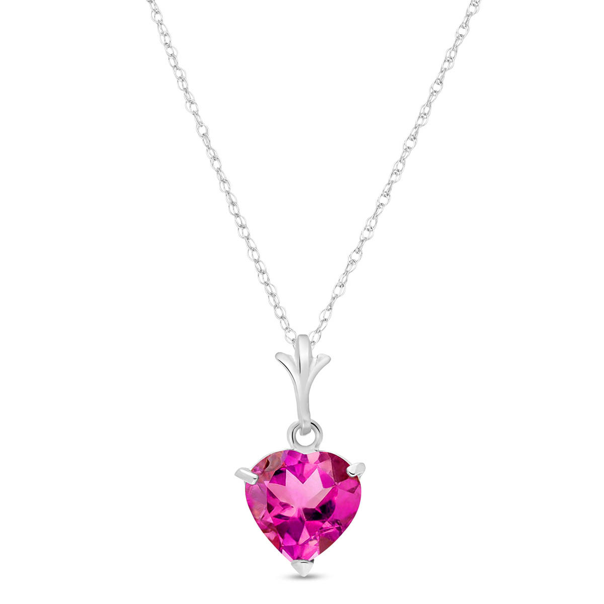 Pink Topaz Heart Pendant Necklace 1.15 ct in 9ct White Gold