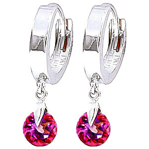Pink Topaz Huggie Drop Earrings 2 ctw in 9ct White Gold