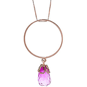 Pink Topaz Infinity Pendant Necklace 3 ct in 9ct Rose Gold