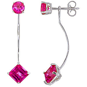 Pink Topaz Lure Drop Earrings 4.15 ctw in 9ct White Gold