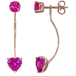Pink Topaz Lure Drop Earrings 4.55 ctw in 9ct Rose Gold