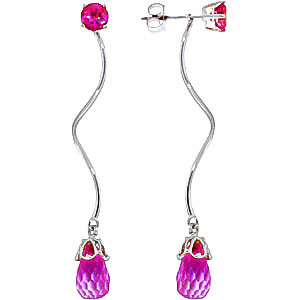 Pink Topaz Lure Drop Earrings 6.8 ctw in 9ct White Gold