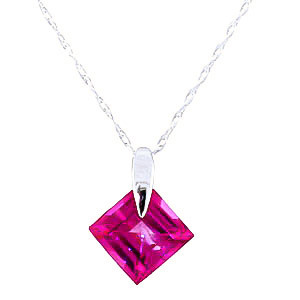 Pink Topaz Princess Pendant Necklace 1.16 ct in 9ct White Gold