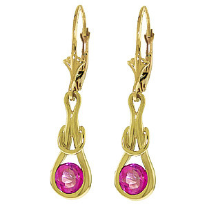 Pink Topaz San Francisco Drop Earrings 1.3 ctw in 9ct Gold