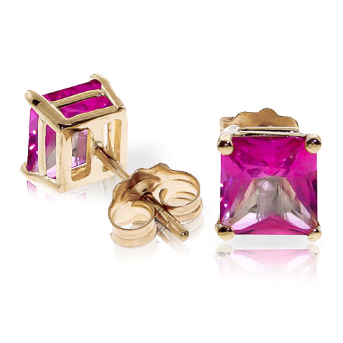Pink Topaz Stud Earrings 1.75 ctw in 9ct Gold