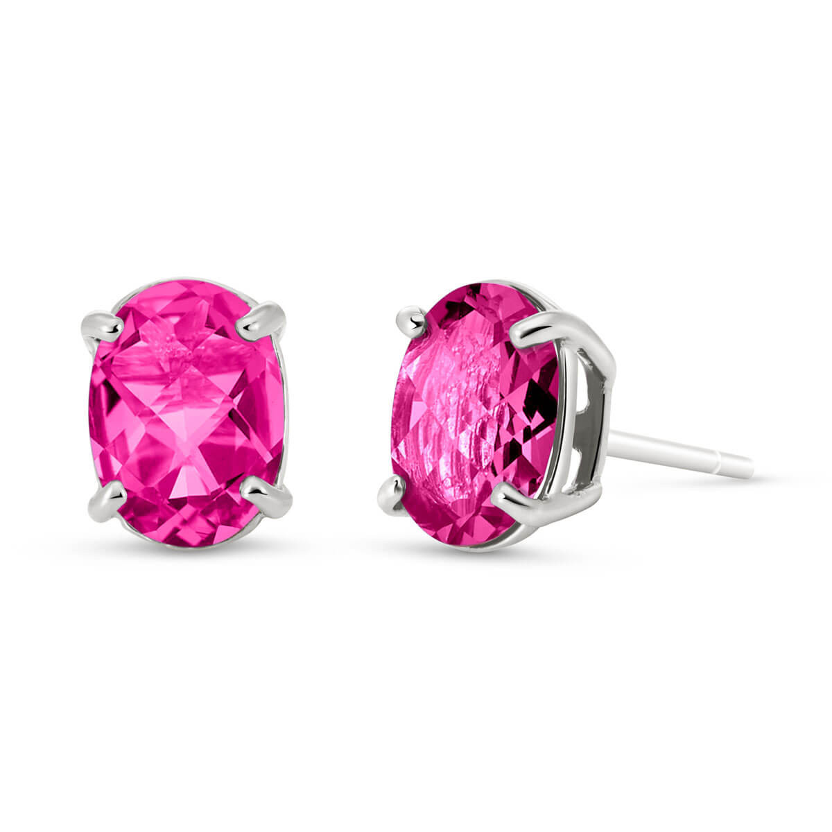 Pink Topaz Stud Earrings 1.8 ctw in 9ct White Gold