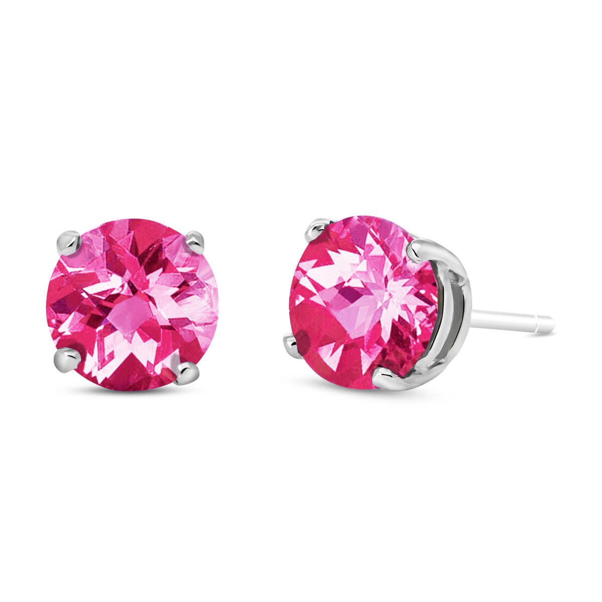 Pink Topaz Stud Earrings 3.1 ctw in 9ct White Gold
