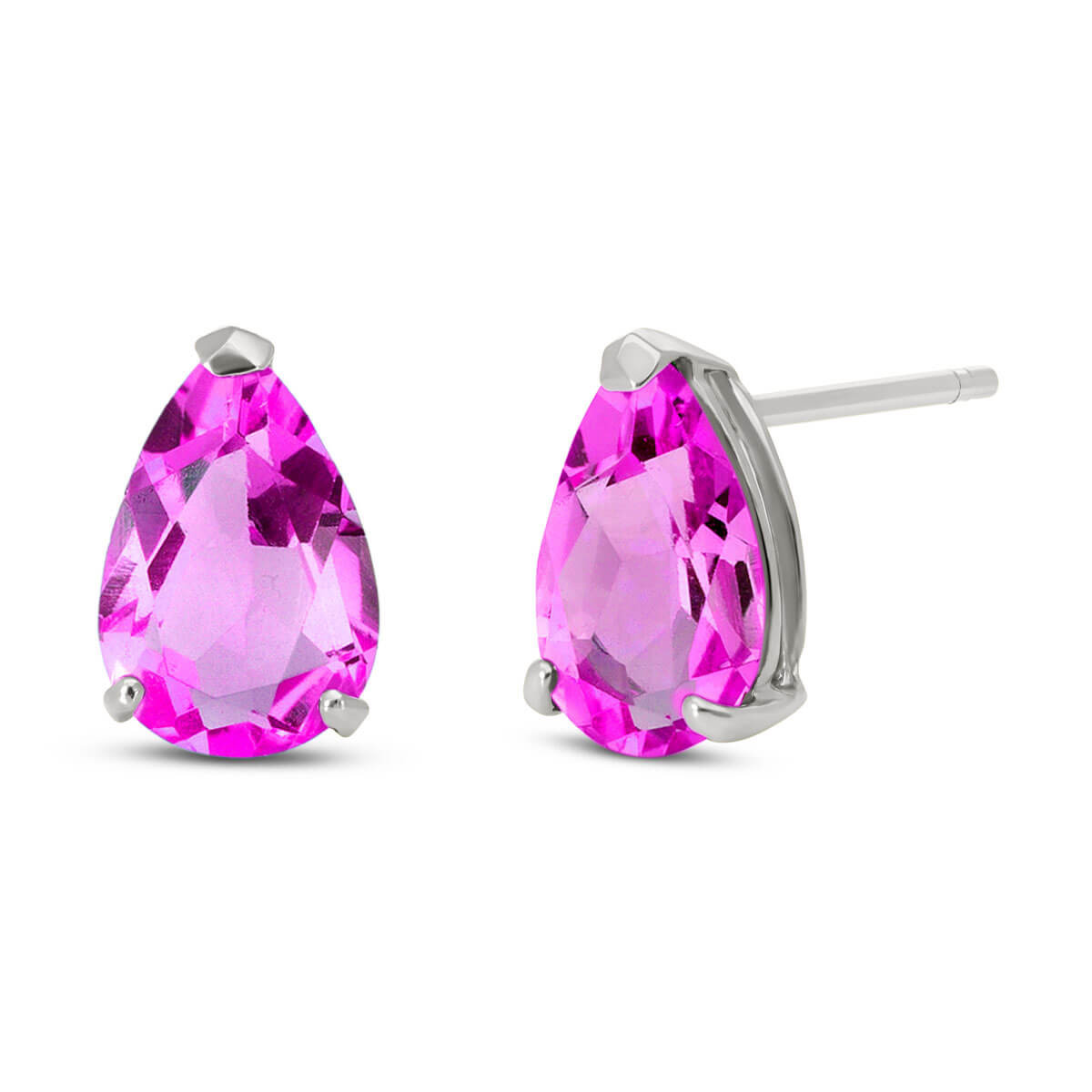 Pink Topaz Stud Earrings 3.15 ctw in 9ct White Gold