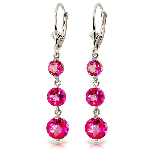 Pink Topaz Trinity Drop Earrings 7.2 ctw in 9ct White Gold