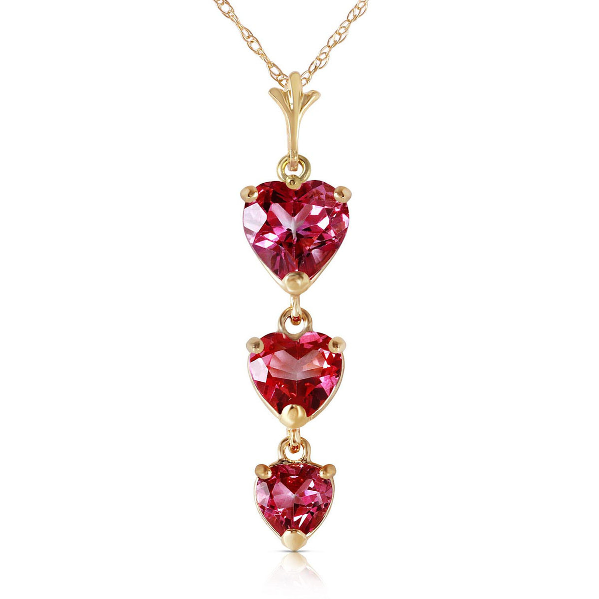 Pink Topaz Triple Heart Pendant Necklace 3.03 ctw in 9ct Gold
