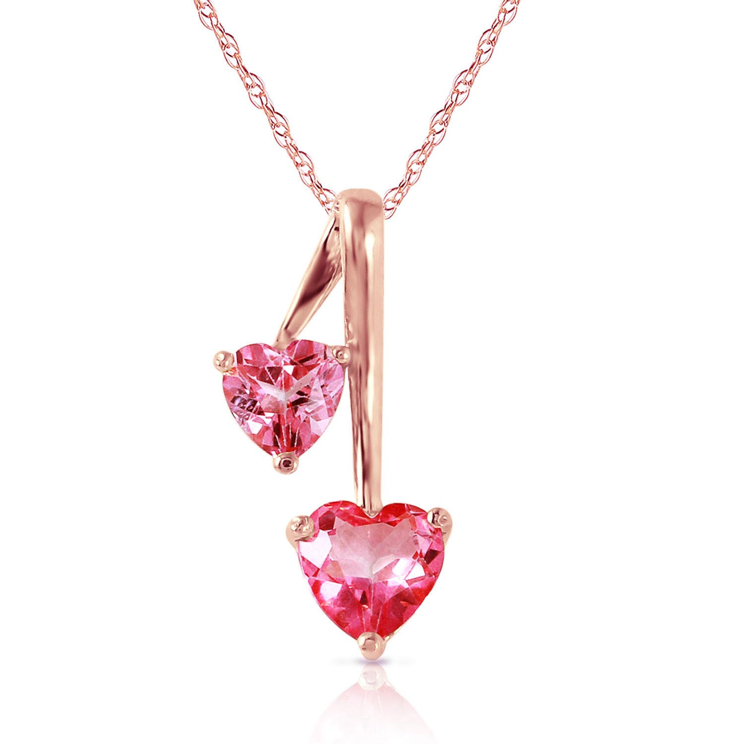 Pink Topaz Twin Pendant Necklace 1.4 ctw in 9ct Rose Gold