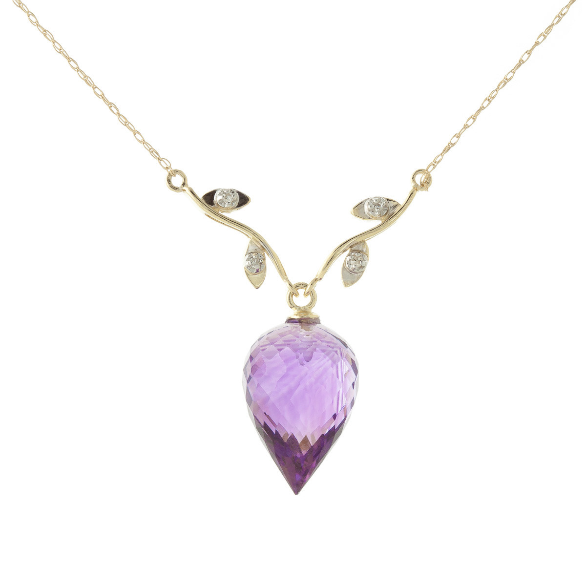 Pointed Briolette Cut Amethyst Pendant Necklace 9.52 ctw in 9ct Gold