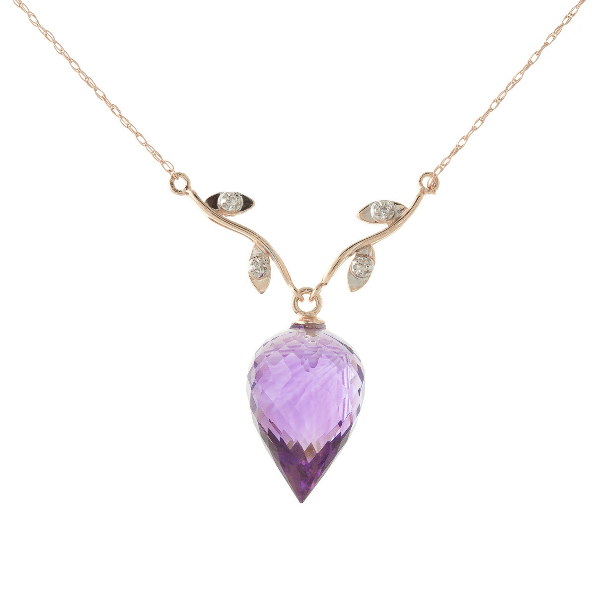 Pointed Briolette Cut Amethyst Pendant Necklace 9.52 ctw in 9ct Rose Gold