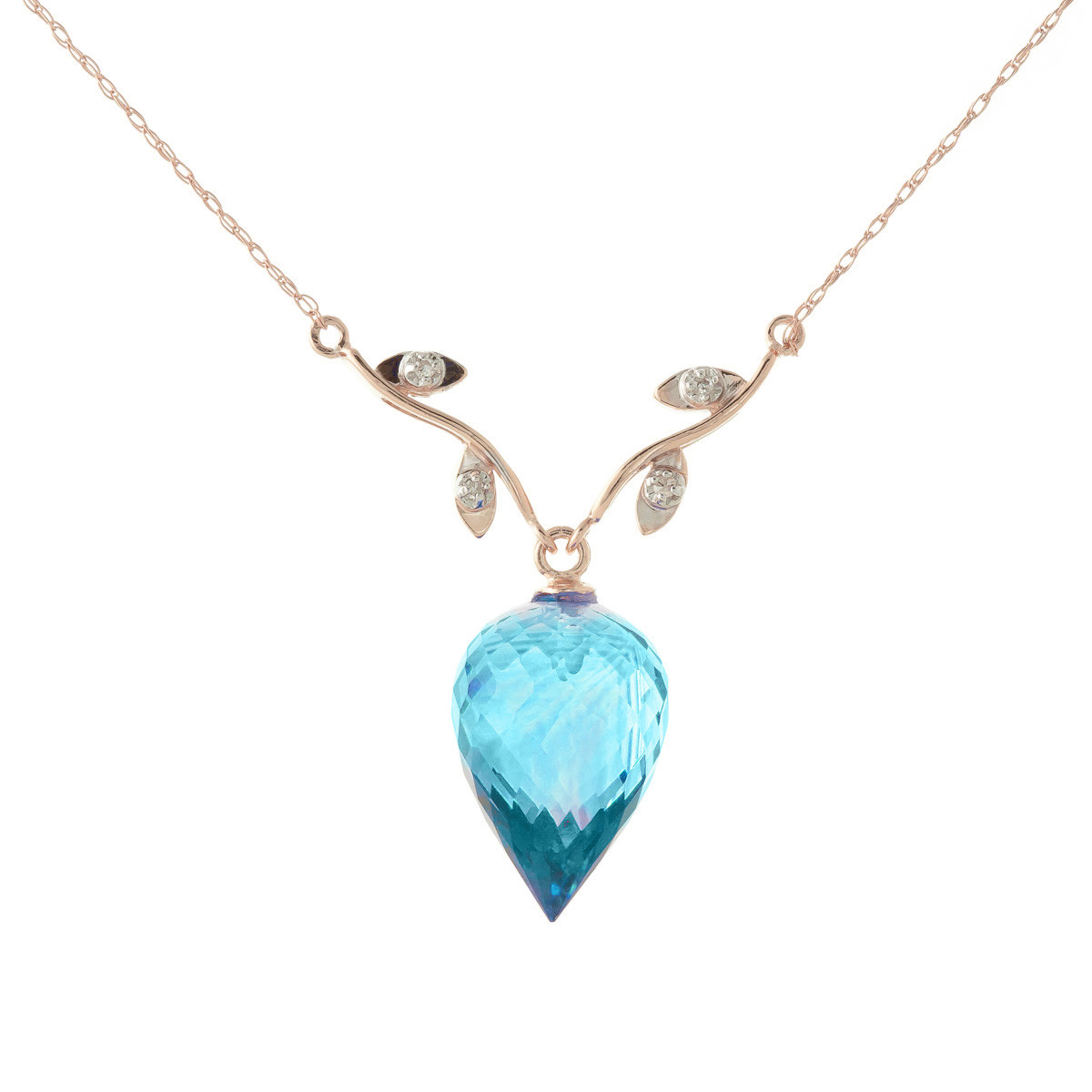 Pointed Briolette Cut Blue Topaz Pendant Necklace 11.27 ctw in 9ct Rose Gold