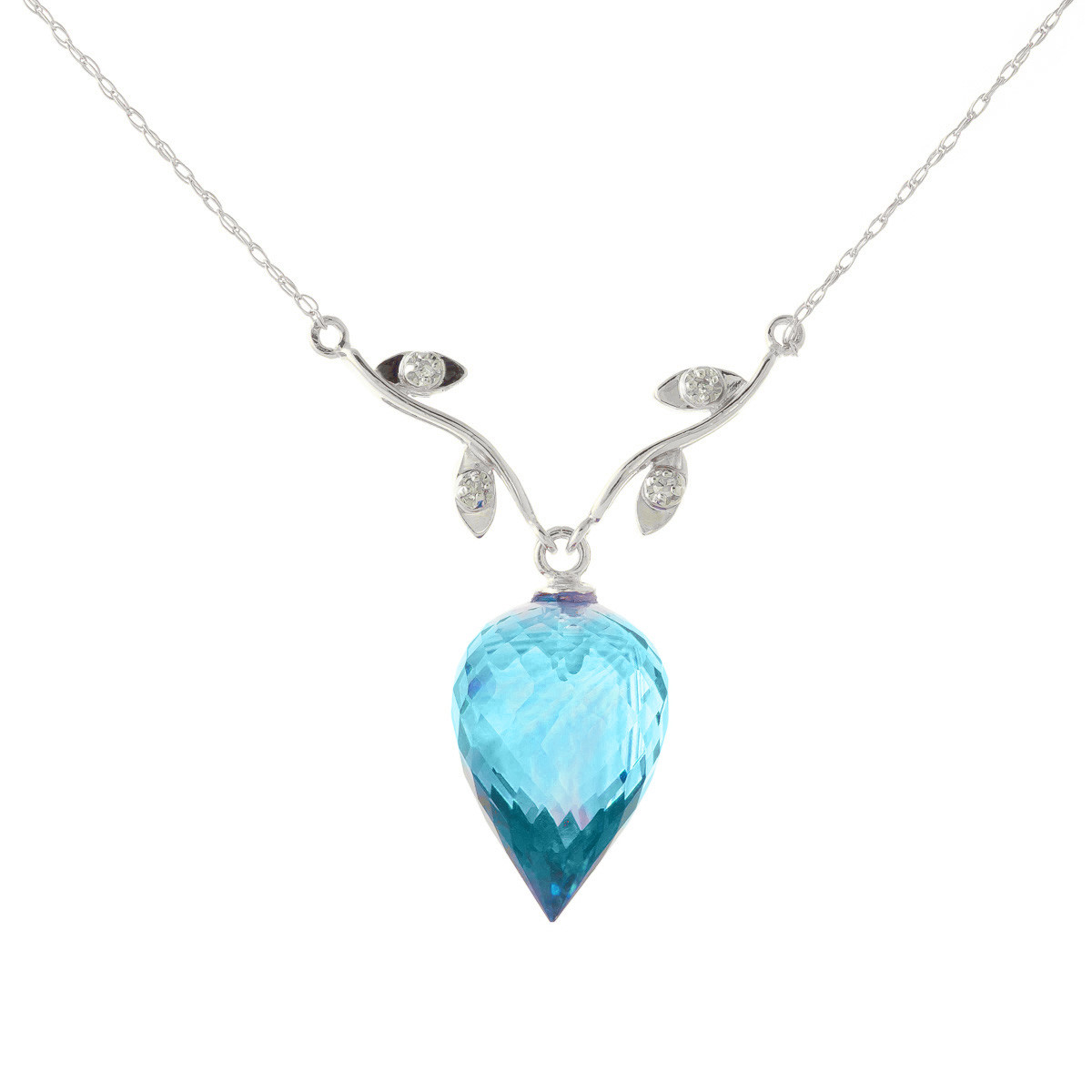 Pointed Briolette Cut Blue Topaz Pendant Necklace 11.27 ctw in 9ct White Gold