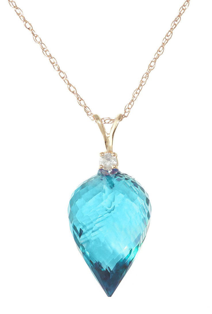 Pointed Briolette Cut Blue Topaz Pendant Necklace 11.3 ctw in 9ct Gold